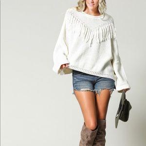 🆕Chunky Fringe Bell Sleeve Sweater